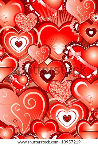 valentine backround full of illustrated hearts