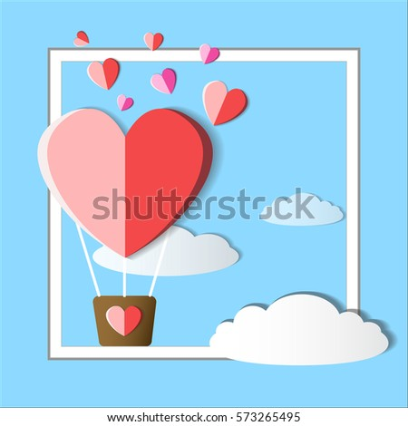valentine balloon hearts with cloud on abstract background #573265495