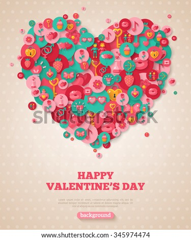 Valentine Banner with Flat Icons Heart. Vector Illustration. Valentine's Day Icons in Circles on Textured Backdrop. Love Concept Symbols. Cute Party Invitation. Valentine Menu Cover Design.