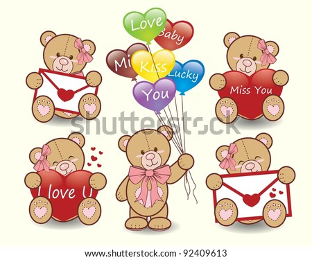 Valentine bears set vector