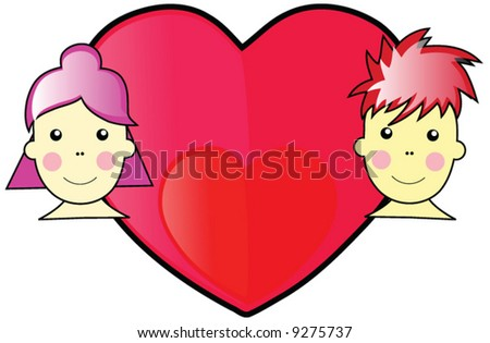 Valentine Boy and Girl WIth Red and Pink Love Heart With Black Outline