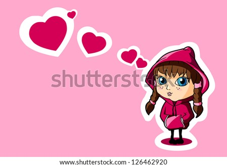 Valentine card - cute girls with hearts on pink background