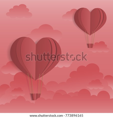 Valentine card For showcasing love style paper art. vector illustration #773896165