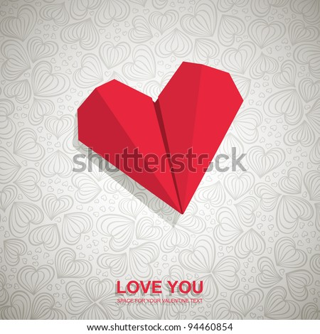 valentine card made of red