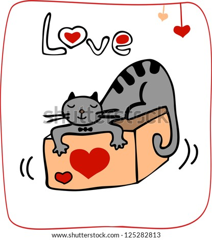 valentine card with cat lying on the gift