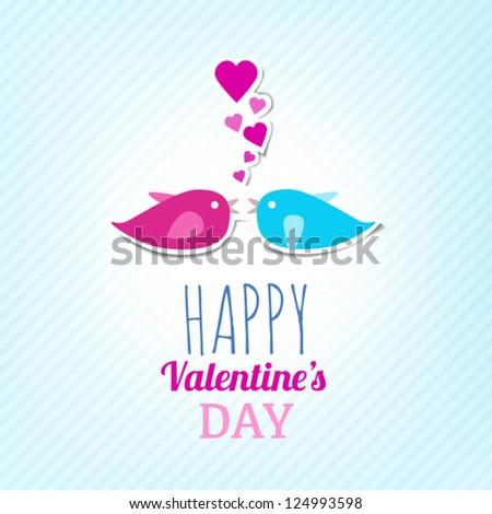 Valentine Card With Cute Birds