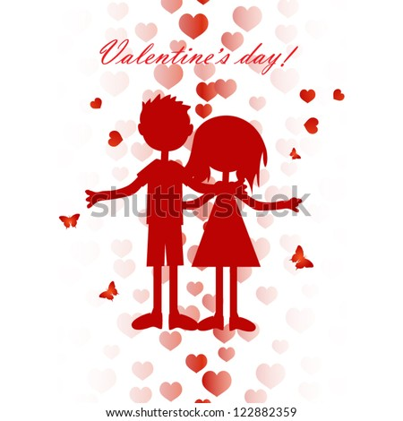 Valentine card with cute boy and girl silhouette #122882359