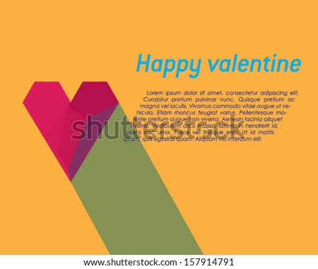 Valentine card with effect of red paper heart, vector eps10 illustration on orange background.