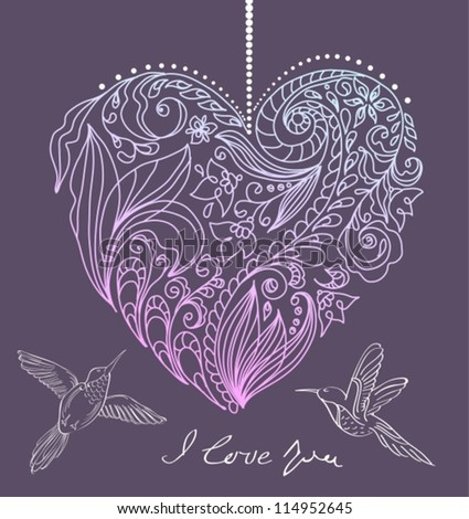valentine card with floral heart and birds, illustration, vector