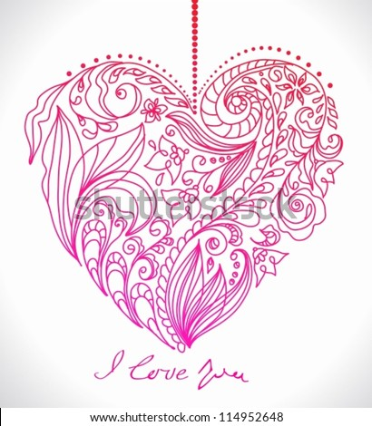 valentine card with floral heart, illustration for romantic design, vector