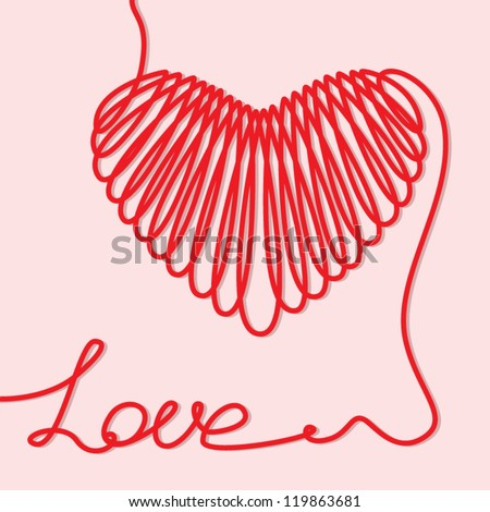 Valentine card with heart and word love of one line on a pink background