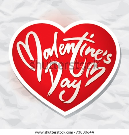 Valentine card with heart on a background of the crumpled paper. Vector illustration.