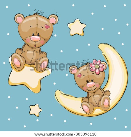 Valentine card with Lovers Teddy Bears on a moon and star