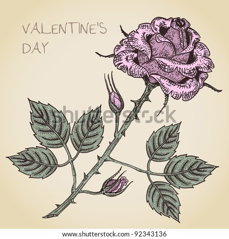 valentine card with rose