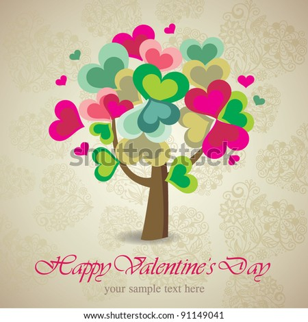Valentine card with tree made of hearts