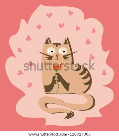 Valentine cat with flower in vector