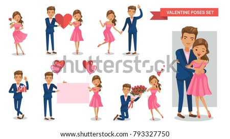 valentine couple characters set