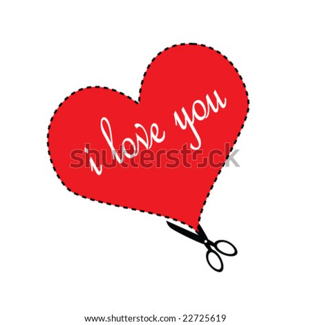 """Valentine Cut-out with """"I Love You"""" Vector - stock vector"""