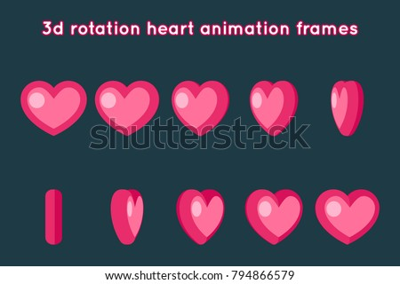 Valentine Day 3d Heart Rotation Animation Frames Set Flat Design Vector Illustration