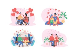 Valentine day 2D vector web banner, poster set. Romantic dinner. Boyfriend and girlfriend. Dating flat characters on cartoon background. Happy couple printable patch, colorful web element collection