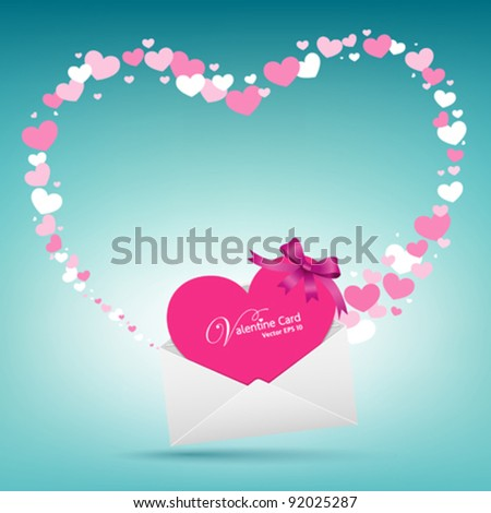 Valentine day envelope letter pink Greeting card vector illustration