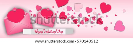 Valentine Day Gift Card Holiday Love Heart Shape Flat Vector Illustration - Shutterstock ID 570140512