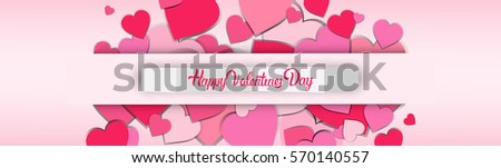 Valentine Day Gift Card Holiday Love Heart Shape Flat Vector Illustration - Shutterstock ID 570140557