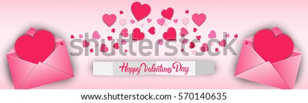 Valentine Day Gift Card Holiday Love Heart Shape Flat Vector Illustration - Shutterstock ID 570140635