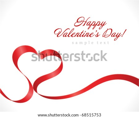 Valentine Day heart from red silk ribbon vector background