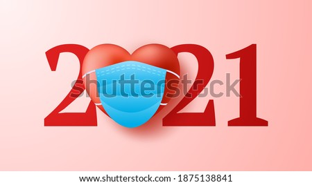 Valentine day 2021 heart realistic 3d with medical face mask concept background. Vector illustration. 2021 year of love concept.