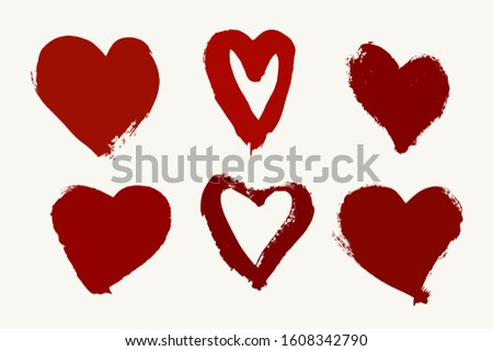 Valentine Day Heart Set. Blood Imitation Hearts Set. Vector Handdrawn Hearts Set. Vector Handdrawn Hearts.
