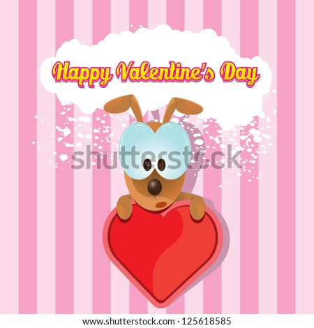 valentine day love beautiful card.  vector cute cartoon puppy holding heart.  love concept illustration.