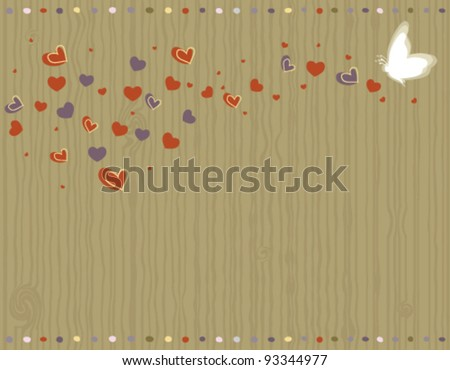 Valentine Day - love greeting card with hearts and butterfly. Vector file saved as EPS AI8, no gradients, no effects, all elements layered and grouped, easy edit and print.