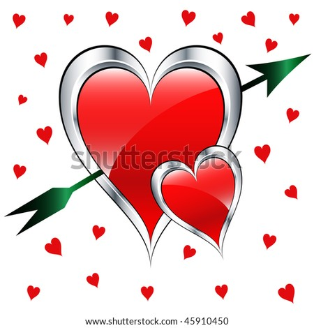 stock-vector-valentine-day-love-hearts-in-silver-and-red-with-a-green-arrow-set-on-a-white-background-with-small-45910450.jpg