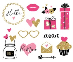Valentine day set. Gold, black, pink colors. Hand drawn hearts, gift boxes, cupcake, flowers, glasses, envelope with gold glitter texture. Design for wedding and Valentine cards.