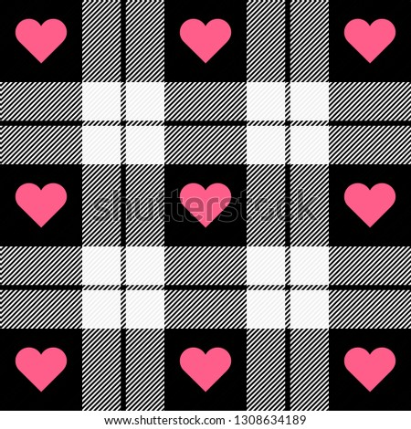 Valentine day tartan plaid. Hearts on scottish cage. Scottish pattern in black and white cage.  Scottish checkered background. Seamless fabric texture. Vector illustration