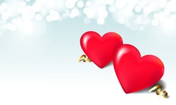 Valentine day, wedding, love postcard. Romantic background with 3d red hearts and bokeh.