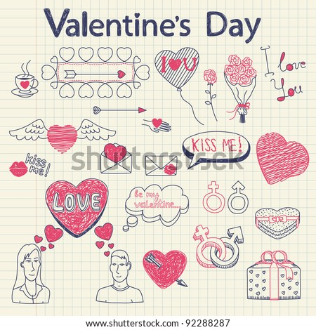 Valentine doodles set. Vector illustration.