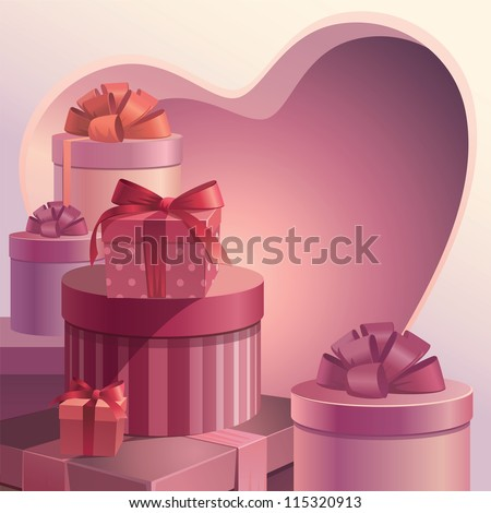 valentine gifts heart template - stock vector