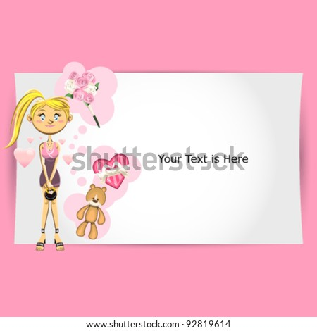 Valentine Girl Greeting Card.