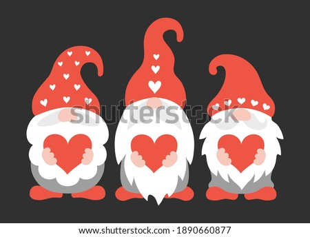 Valentine gnomes holding hearts. Cute three dwarf with beards and hats. Vector illustration with characters for valentine's day. Scandinavian gnomes in cartoon style. Holiday greeting card. Photo stock ©