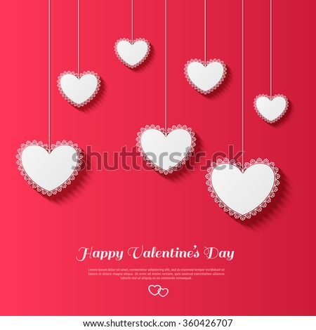 Valentine Greeting Card Background White Lace Hearts With Shadows