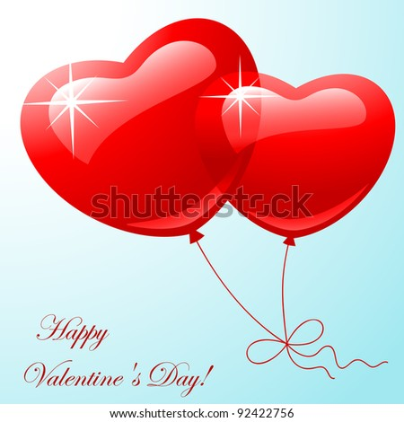 Valentine greeting card - happy valentine day. Red two balloon in shape hearts on a blue background.  Vector illustration #92422756