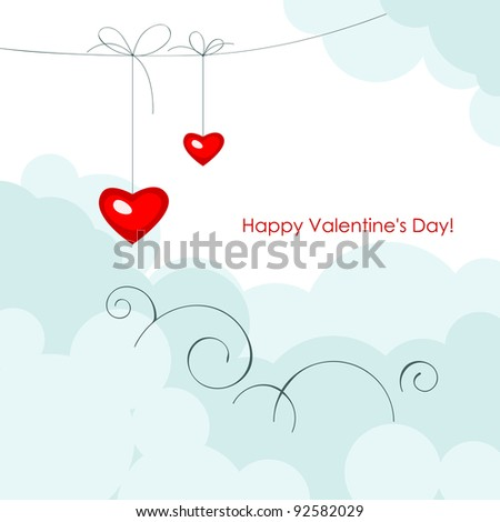Valentine greeting card - happy valentine day. Red two hearts in shape hearts on a blue sky.  Vector illustration