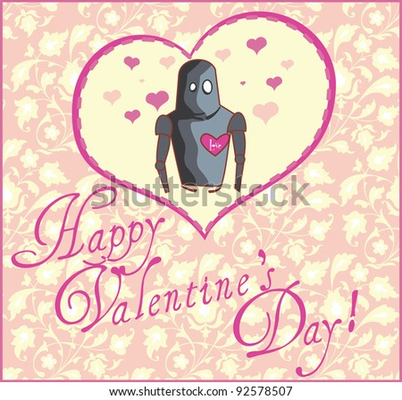 Valentine Greeting Card with Robot