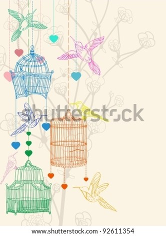 Valentine hand drawing background with birds, flowers and cage, beautiful illustration, vector