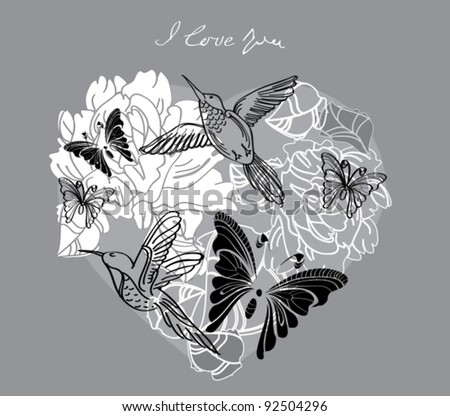 Valentine hand drawing background with floral heart, vector