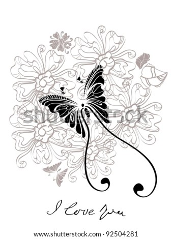 Valentine hand drawing black and white background, vector