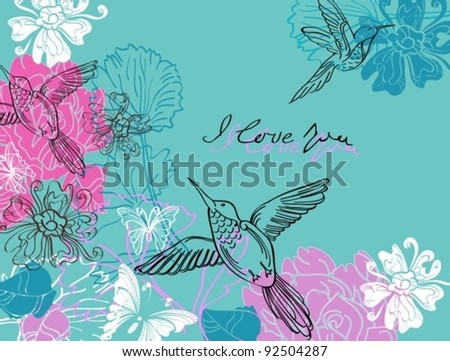 Valentine hand drawing blue and pink background with flowers, vector