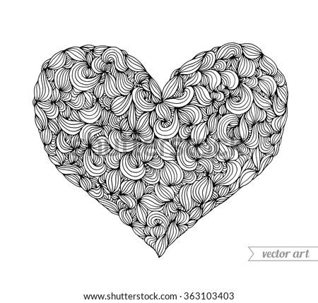 valentine heart  doodle pattern